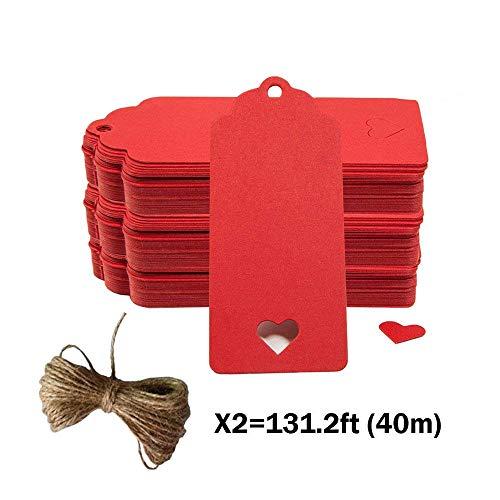 Geschenk Anhänger Papieranhänger, 200pc Hohle Herzform Kraftpapier Etiketten/Hängeetiketten mit Gratis Natürlich Jute Schnur für Weihnachten Hochzeit Geburtstag Gefälligkeiten (Rot)