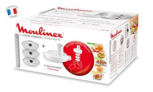 Moulinex Accesorios XF383110 - Accesorio cortador de 3 discos, eje rotación, tapa con doble tubo, color...