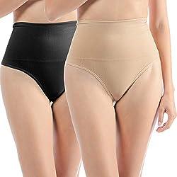 2 Unidades Libella Tanga String Body Faja Modeladora Reductora sin costuras para Mujeres 3601 Negro+Beige S/M