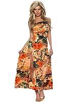 4326 Fashion4Young Damen Maxikleid im Bandeau-Stil Kleid dress verfügbar in 3 Farben Gr. 34/36