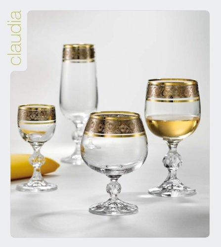 Bohemia Crystal Brandy Cognacschwenker Claudia Mit Sibergravur Und Goldenen Rand 250 Ml 6 Set