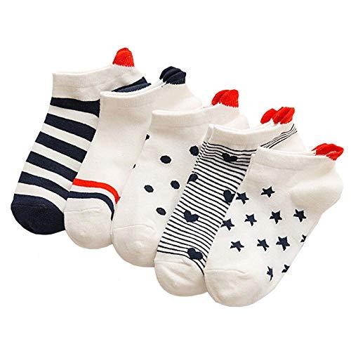 Doublehero Damen Basics Sneaker Socken 5Paar/1Paar Kurze Baumwolle Sportsocken Damensocken Business Socken Niedlich Liebe Muster Weich Bequem Frühling Sommer Lässige Socken Freizeit, Arbeit (5PCS)