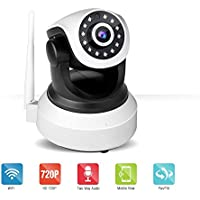 IP Camera Wireless,Shrxy 720P HD WiFi IP Cam Baby Monitor Surveillance Security System Video P2P Pan Tilt Motion Detect with Two-Way Audio Infrared Night Vision