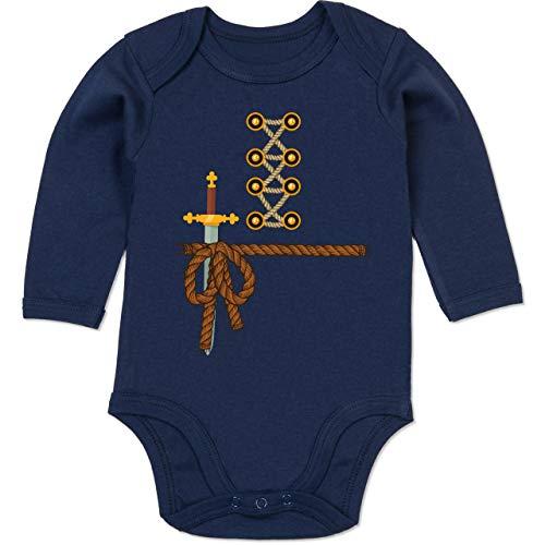 Shirtracer Karneval und Fasching Baby - Ritter Kostüm Fasching - 6-12 Monate - Navy Blau - BZ30 - Baby Body - Dolch Zeit Kostüm