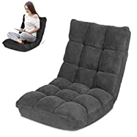 Gluckluz Floor Chair Foldable Lounger Chair Folding Lazy Sofa Gaming Chair Adjustable High Back Couch Recliner for Patio Deck Indoor Outdoor Bedroom Living Room Office Balcony Teens Adults Sleep Black