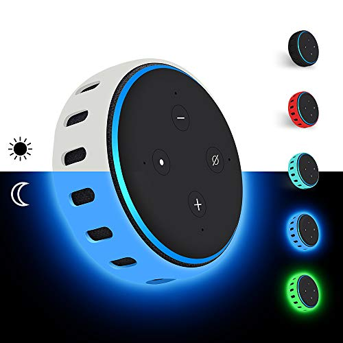 Hydream Silikon Schutzhülle für Echo Dot (3. Gen.) Smarter Lautsprecher, Leichte rutschfeste Stoßfeste Sprecher Silikonhülle Cover Hülle (Glow Blue)