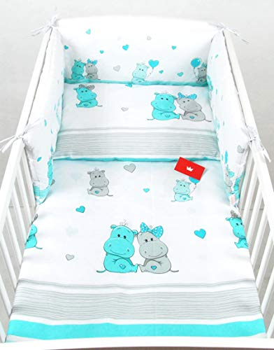 BABYLUX Bettwäsche Bezug 2 Tlg. 100 x 135 cm Kinderbettwäsche Bettwäsche Bettset Babybettwäsche (108. Hippo Türkis)