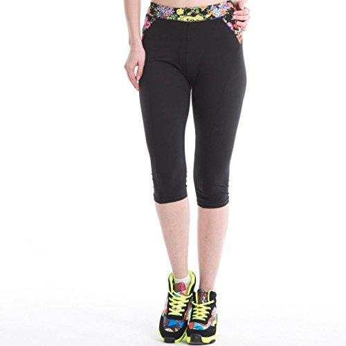 Familizo Donne Elasticità Fitness Yoga Sport Mezzo fiori stampati Stretch Pants (L, D)