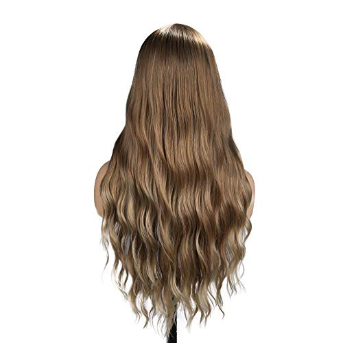 Perücken Beauty Haarpflege Styling Synthetische 24 Zoll Gewelltes Haar Braun Beige Highlights Synthetische Natürliche Perücke Hitzebeständige Perücke -
