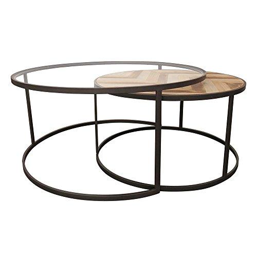 Lot de 2 tables basses rondes gigogne en métal et bois motifs ethniques 90x90xH42cm SEVILLE