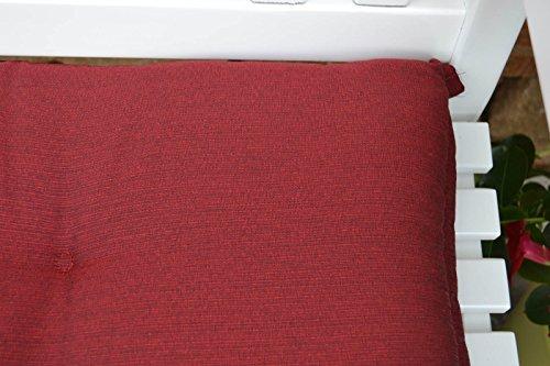 Weiße Gartenbank mit einer roten Auflage Dreisitzer 158 x 61 x 89 cm - 5