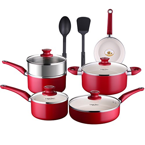 Lovepan Beets Pots and Pans Set, White Ceramic Coating Nonstick Aluminum Cookware Set With glass lids and Nylon Utensils, Sauce Pan with Steamer Dishwasher Safe PTFE, PFOA Free, 12-PCS Red
