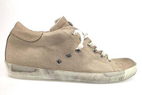 scarpe donna LEATHER CROWN 40 sneakers beige tessuto AP612-C