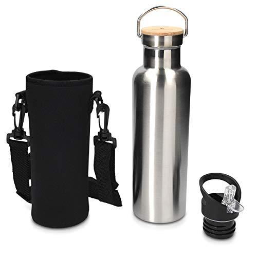 Navaris Trinkflasche aus Edelstahl 700 ml 2X Verschluss - Thermo Sport Flasche Wasserflasche heiß und kalt - Thermosflasche auslaufsicher in Silber