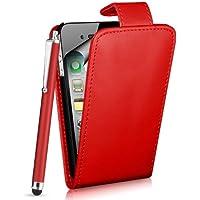Supergets® Schlichte Einfarbige Hülle für Apple Iphone 4 / 4S Handytasche in Lederoptik Etui Klappschale Flip Case, Mit Schutzfolie, Putztuch,Eingabestift ( Nicht geeignet für iPod 4 oder iPhone 5 )