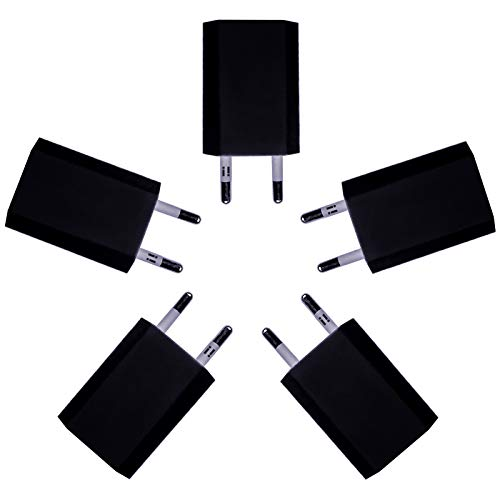 [i!®] 5X USB Netzteil Set Ladegerät Steckdosenadapter Stecker 5V 1A kompatibel mit [Universal | Apple iPhone XS X 8 7 6 5 SE | iPad | Samsung Galaxy | Handy | Tablet | Smartphone] schwarz Usb Universal Mobile