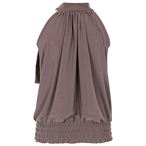 Flirty Wardrobe Haut dos-nu Sans manches pour femme Débardeur Long avec Taille 36–50 Marron - Moka