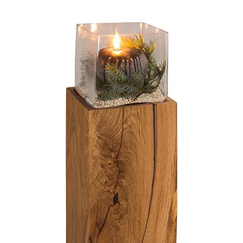 GREENHAUS Windlichtsäule 17x17x70 cm Eiche Handarbeit und Massivholz aus Deutschland Windlicht Säule Holz Laterne Dekosäule