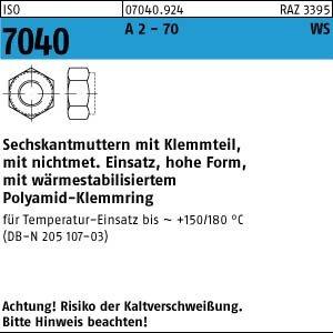 1000 Sechskantmuttern ISO 7040 A2-70 M3 m. brauneMRing, n. BN 205107 -3 V2A Niro Edelstahl (Bn 70)