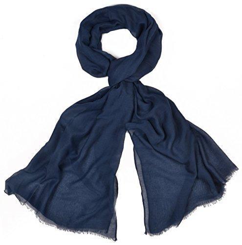 INTERMODA XXL Uni Schal unifarben transparent, leichtes Crinkle Tuch, Unisex, Marine Navy Dunkelblau