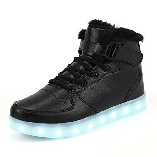 Dannto Kinder Leuchtende Blinkschuhe Turnschuhe Farbe USB Aufladen LED Licht Kinderschuhe Sportschuhe Hoch Oben Lässige Mode Sneakers für Jungen Mädchen(schwarz-B,35)