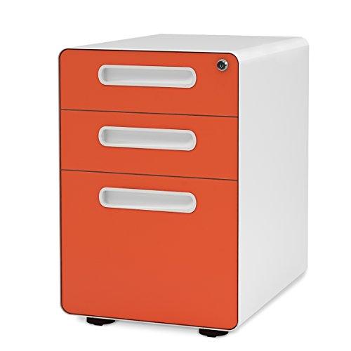 DEVAISE Metall Rollcontainer, Aktenschränke, Büro-Rollcontainer, Bürocontainer mit Anti-umkippen-mechanismus für A4; 3 Schublade, Mobilen, Abschließbar ; 60cm H, Orange