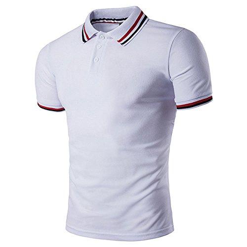 BicRad Herren Shirt Polo Kurzarmshirt Slim Polohemden Baumwolle, Weiss Gestreift, Gr. XXL (Shirt Gestreift Polo Button-down)