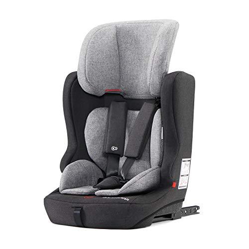 Kinderkraft KKFFIX2BLKGRY0 Fix2Go Kindersitz Autokindersitz mit Isofix 9 bis 36 kg Gruppe 1 2 3, grau