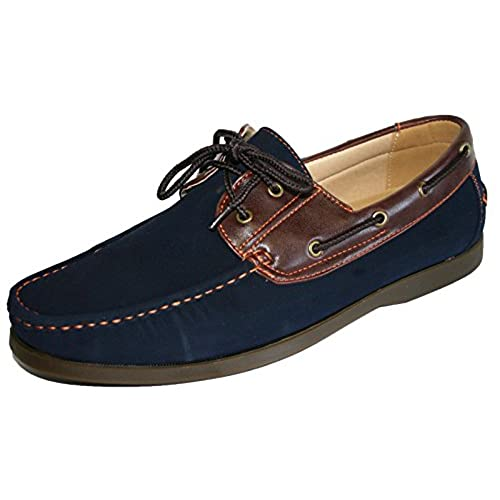 Men's Coolers Faux Nubuck Leather Loafer Lace Up Boat Deck Shoes Sizes 7 -  11 (10 UK, Navy)
