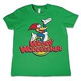 Woody Woodpecker Licenza Ufficiale Classic Logo Maglietta da Bambino Unisex - Verde 3/4 Anni
