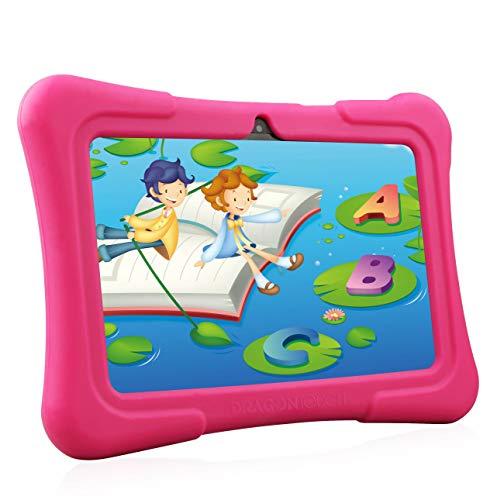 Dragon Touch Tablette Tactile Enfants 7 Pouces WiFi & Bluetooth IPS HD 1024x600 Android 8.1 Quad Core 1 GO Ram 16 GO Édition 2019 Rom Kidoz & Google Play Préinstallé Contrôle Parental avec Etui Rose