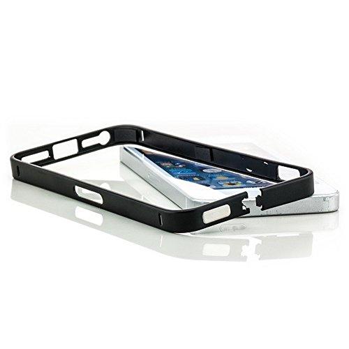 Saxonia. Aluminium Bumper + Displayschutzfolie Apple iPhone 5 / 5S Ultra Slim Alu Case Rahmen | Gold Schwarz