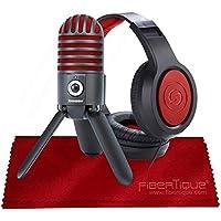 Samson Meteor Mic USB Studio Microphone, Limited Edition - Titanium Black/Red with Closed-Back Headphones Bundle - Mikrofon
