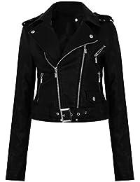 GG neuen Frauen Gürtelschnalle Faux-Leder- Zip Crop Damen Biker-Jacken-Mantel