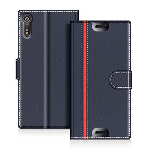COODIO Sony Xperia XZs Hülle Leder Lederhülle Ledertasche Wallet Handyhülle Tasche Schutzhülle mit Magnetverschluss/Kartenfächer für Sony Xperia XZs und Xperia XZ, Dunkel Blau/Rot