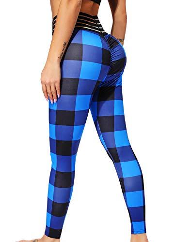 INSTINNCT Damen Hohe Taille Doppeltaschen Sport Leggings Strumpfhose Jogginghose Tights mit Säckel #1 Karo (Blau) L