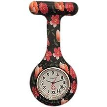 Boolavard® TM Orologio da infermiere in silicone con spilla - orologio tascabile Nero + Arancio