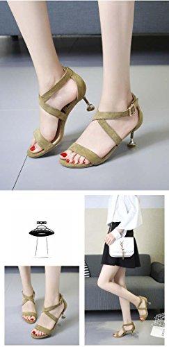 Green Art Peep Mode Kätzchen Pumps Sandale Toe Erhöht Rutschfest Stickerei Fesselriemen Kreuzband Schnalle Ferse wwv1nqOr