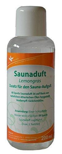 KK Hygiene Premium Sauna Aufguss Konzentrat Duft Lemon Gras | hochwertiges Saunaduft Öl Premium Qualität 200-ml-Flasche | verdampft rückstandslos | Saunaduft Aufguss Konzentrat | 1er Pack ( 1 x 200 ml ) | klassische und moderne Duftnoten (Lemongras)