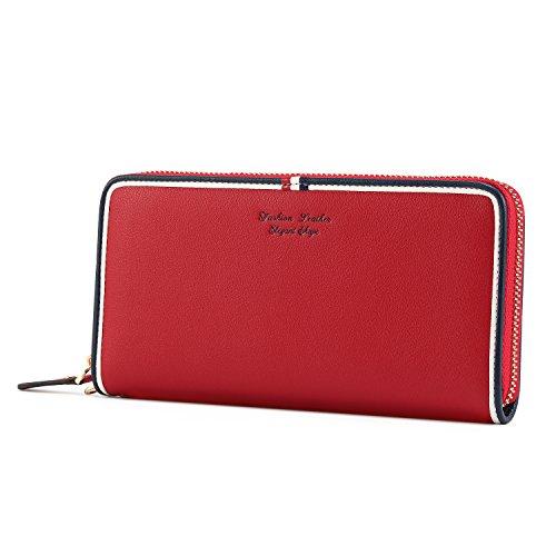 Kattee Damen Leder lange Geldbörse Clutches Mädchen Portemonnaie mit Reißverschluss(Rot) (Clutch Damen Geldbörse)
