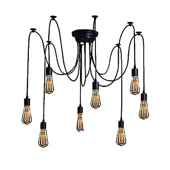 Signstek 8 Ampoules Lustre Vintage Lampe, Applique de Plafond Rétro pour Salon, Salle, Chambre pour décorer la Maison