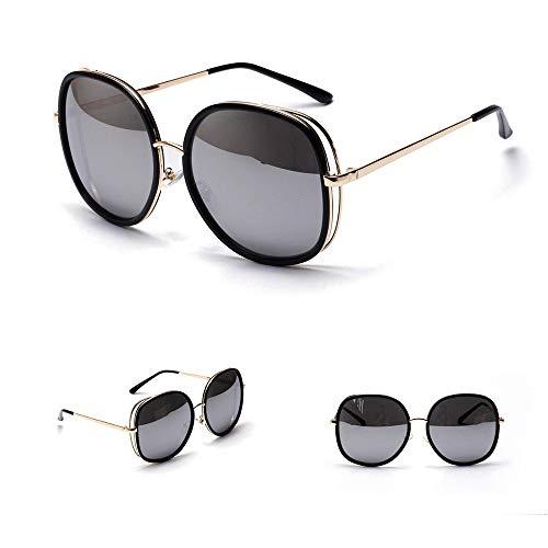 UICICI Vintage Fashion Large Frame Square Sonnenbrillen Fashion Style UV400 für Damen/Herren (Farbe : Sliver)
