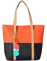 Ocamo Women Fashion Handbag Lady Shoulder Bag With Lovely Heart Pendant Satchel Tote Purse PU Leather Messenger