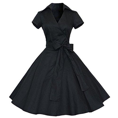 LMMVP Vestidos Mujer Casual,Mujeres Vintage Vestido 50S 60S Swing Pinup Retro Casual ama de casa Fiesta Bola (XL, Negro)