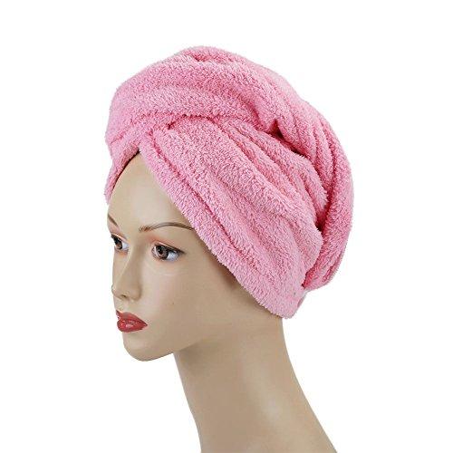 Shintop Haar Handtuch Turban - Mikrofaser Haarturban Baumwolle mit Knopf zum Haare Trocknen für Bad, Spa, Make-up (Pink)