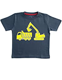 EXCAVATOR & DUMP TRUCK Boys Navy T-shirt  with a Silver and Yellow print.