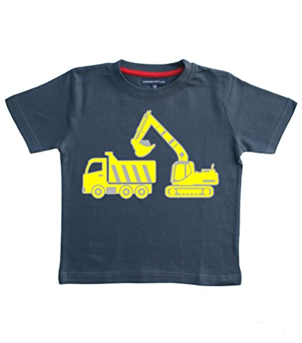 Excavator - Navy Boys T-Shirt In Size 3-4 Years With A Silver, Yellow & Black Print.