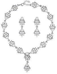 971590261a63 Scrox 2pcs Boda Juego de Joyas Mujeres Elegante Novia Joyería Conjunto  Brillante Rhinestone Colgante Exquisito Collar Perla Pendientes…