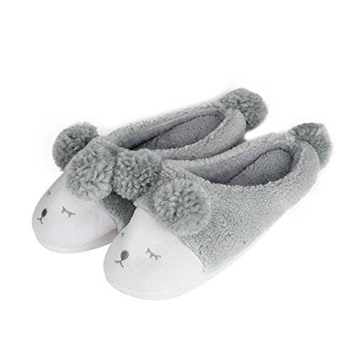 Culater® Pantoufle Peluche Dessin Animé Mignon Hommes et Femmes Chaussons Chaussures d'hiver (S/EU 36-37, gris)