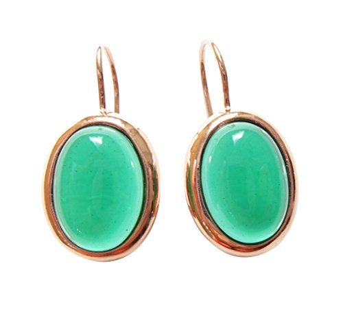Brillante in den Tag: Ovale rotvergoldete orecchini con un Cabochon di pietra verde